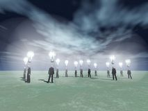 Ideas generators. Surreal scene. Men with bright light bulbs above head. Human elements were created with 3D software and are not from any actual human Stock Photo