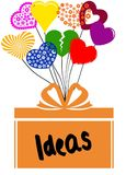IDEAS on gift box with multicoloured hearts. Illustration concept stock illustration