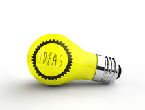 Ideas hand written in thin typography on a lightbulb Stock Photo