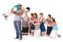 Ideas for hen party: abduction of bride. Ideas for hen party: angry mariner abducts bride Stock Images