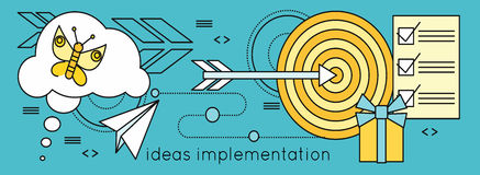 Ideas Implementation Background in Flat. Idea generation, problem solving, strategy solution, analysis innovation, research, brainstorm, good solution Stock Image