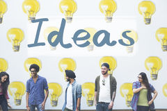 Ideas Innovation Tactics Thoughts Plan Concept. Diverse Friends Ideas Innovation Tactics Thoughts Plan Stock Images