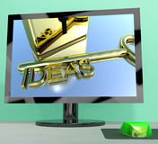 Ideas Key On Computer Screen Showing Creativity Royalty Free Stock Photo
