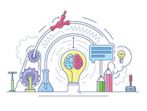 Ideas laboratory abstract. Education and research, scientific lab, vector illustration Royalty Free Stock Photo