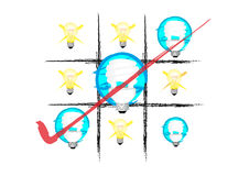 Ideas lamp. Cartoon lamp on white background Royalty Free Stock Photo