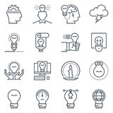 Ideas and lamps icon set. Suitable for info graphics, websites and print media. Black and white flat line icons Stock Images