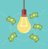 Ideas light bulb attract money to its orbit. business ideas concept. Flat design element. Vector illustration Royalty Free Stock Images