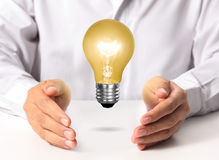 Light bulb in a hand Royalty Free Stock Photography