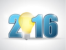 2016 ideas, light bulb text sign. Illustration design Royalty Free Stock Images