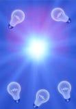 Ideas. Light bulbs on blue vector illustration