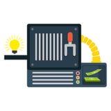 Ideas machine icon. Ideas machine with bulb light icon over white background. colorful design.  illustration Stock Image