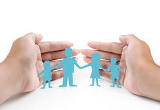 Ideas,paper family in  hand Royalty Free Stock Photography