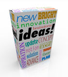 Ideas Product Box Innovative Brainstorm Concept Inspiration. The word Ideas on a product box you could buy at a store for instant inspiration, innovation Royalty Free Stock Photo
