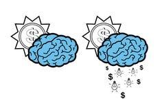 Ideas que bajan de una nube del cerebro y del sol Fotos de archivo libres de regalías
