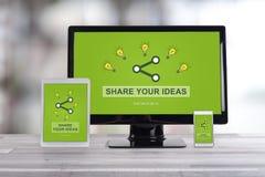 Ideas que comparten concepto en diversos dispositivos foto de archivo libre de regalías