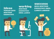 Ideas que trabajan éxito ilustración del vector