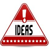 IDEAS on red triangle road sign. Illustration Royalty Free Stock Photo