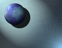 Ideas Rule. A globe of the earth and a lightbulb shaped puddle of water Vector Illustration