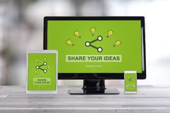 Ideas sharing concept on different devices royalty free stock photo