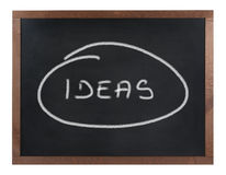 Ideas sign on blackboard Royalty Free Stock Image