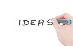 Ideas sign written by a felt tip pen isolated Royalty Free Stock Photos