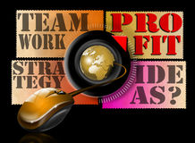 Ideas strategy teamwork profit. Illustration with mouse, globe and written ideas, teamwork, strategy and profit Stock Image