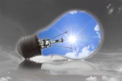 Ideas, the sun, a light bulb. Royalty Free Stock Photos