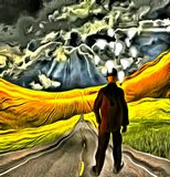 Ideas. Surreal painting. Businessman stands on a road. Light Bulbs around head symbolizes ideas Stock Photography