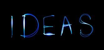 Ideas - text. Painting light luminescent inscription word Royalty Free Stock Photo