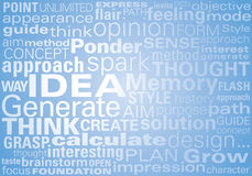 Ideas in Text. An written background of positive idea generating words Royalty Free Stock Photo