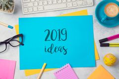 2019 ideas text on colorful paper memo note with business office. Accessories. Top view from above royalty free stock photography