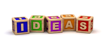 Ideas Text Cube Stock Photo