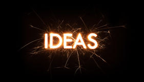IDEAS title word in glowing sparkler Royalty Free Stock Photo