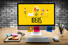 IDEAS to work Business People  Meeting Brainstorm and discussing Royalty Free Stock Image