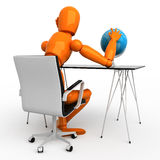 Ideas on travel. Orange mannequin with blue globe Stock Images