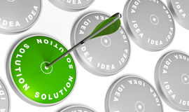 Ideas turned to solution. Ideas targets and one green solution target with an arrow hitting the center Stock Images