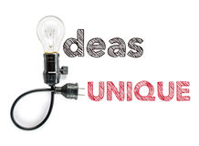 Ideas unique phrase and light bulb, hand writing Big Idea Stock Images