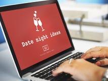 Ideas Valentine Romance Heart Dating Concept de la noche de la fecha fotografía de archivo