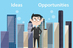 Ideas vs opportunities concept with businessman think about choose between ideas vs opportunities. Vector Stock Images