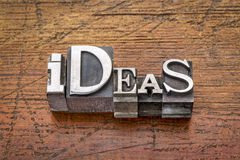 Ideas word in metal type Royalty Free Stock Images