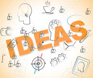 Ideas Word Shows Thinking Creativity And Deciding Stock Photography