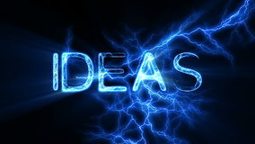 IDEAS Word Text Animation with Electrical Lightning stock footage
