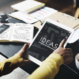 Ideas Working Using Tablet Technology Thinking Concept Royalty Free Stock Images