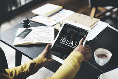Ideas Working Using Tablet Technology Thinking Concept Stock Images