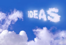 Ideas. Written with clouds against blue sky Royalty Free Stock Image