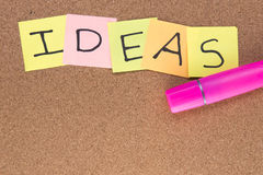 Ideas written on post it notes with a pink highlighter royalty free stock photography