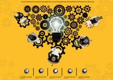 Ideas y trabajo del intercambio de ideas de los hombres de negocios Éxito accionado del contragolpe Imagen de archivo