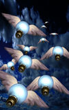 IdeasTake Flight. Winged bulbs take flight in a group toward an unknown destination Vector Illustration