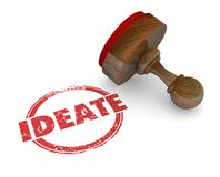 Ideate Round Stamp Think Plan New Ideas. 3d Illustration Stock Photos