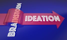 Ideation Vs Brainstorm New Process. Thinking Ideas 3d Illustration Royalty Free Stock Photo